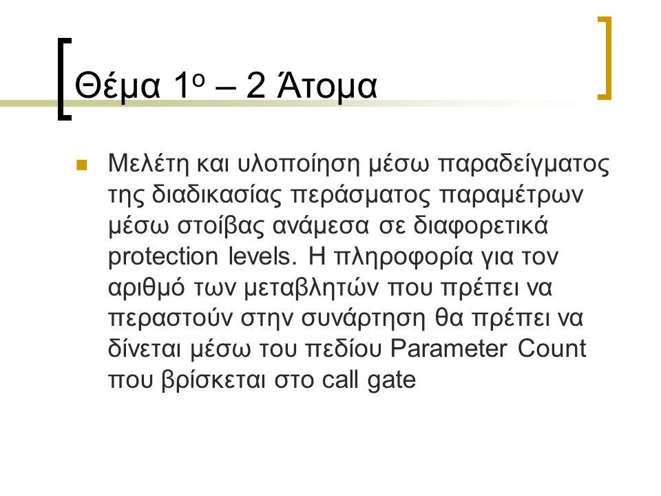 Θέμα 1 ο – 2 Άτομα Μελέτη και υλοποίηση μέσω παραδείγματος της διαδικασίας περάσματος παραμέτρων μέσω στοίβας ανάμεσα σε διαφορετικά protection levels