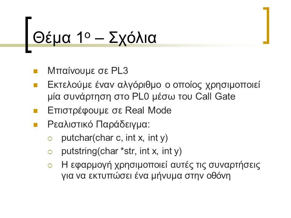 Θέμα 1 ο – Σχόλια Μπαίνουμε σε PL3 Εκτελούμε έναν αλγόριθμο ο οποίος χρησιμοποιεί μία συνάρτηση στο PL0 μέσω του Call Gate Επιστρέφουμε σε Real Mode Ρ