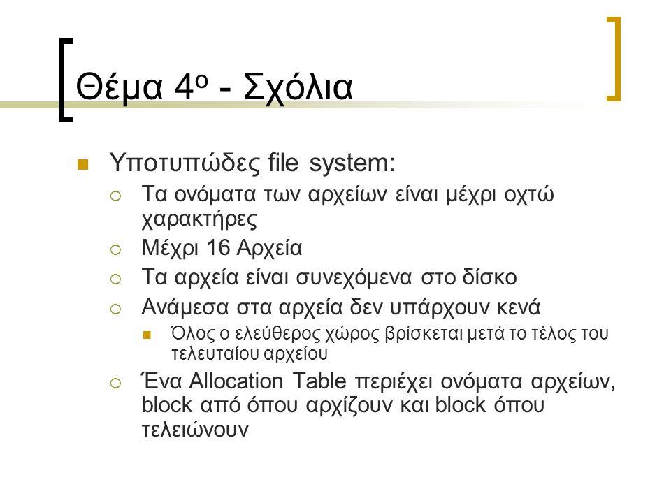 Θέμα 4 ο - Σχόλια Υποτυπώδες file system:  Τα ονόματα των αρχείων είναι μέχρι οχτώ χαρακτήρες  Μέχρι 16 Αρχεία  Τα αρχεία είναι συνεχόμενα στο δίσκο  Ανάμεσα στα αρχεία δεν υπάρχουν κενά Όλος ο ελεύθερος χώρος βρίσκεται μετά το τέλος του τελευταίου αρχείου  Ένα Allocation Table περιέχει ονόματα αρχείων, block από όπου αρχίζουν και block όπου τελειώνουν