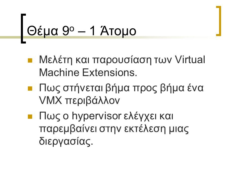 Θέμα 9 ο – 1 Άτομο Μελέτη και παρουσίαση των Virtual Machine Extensions.