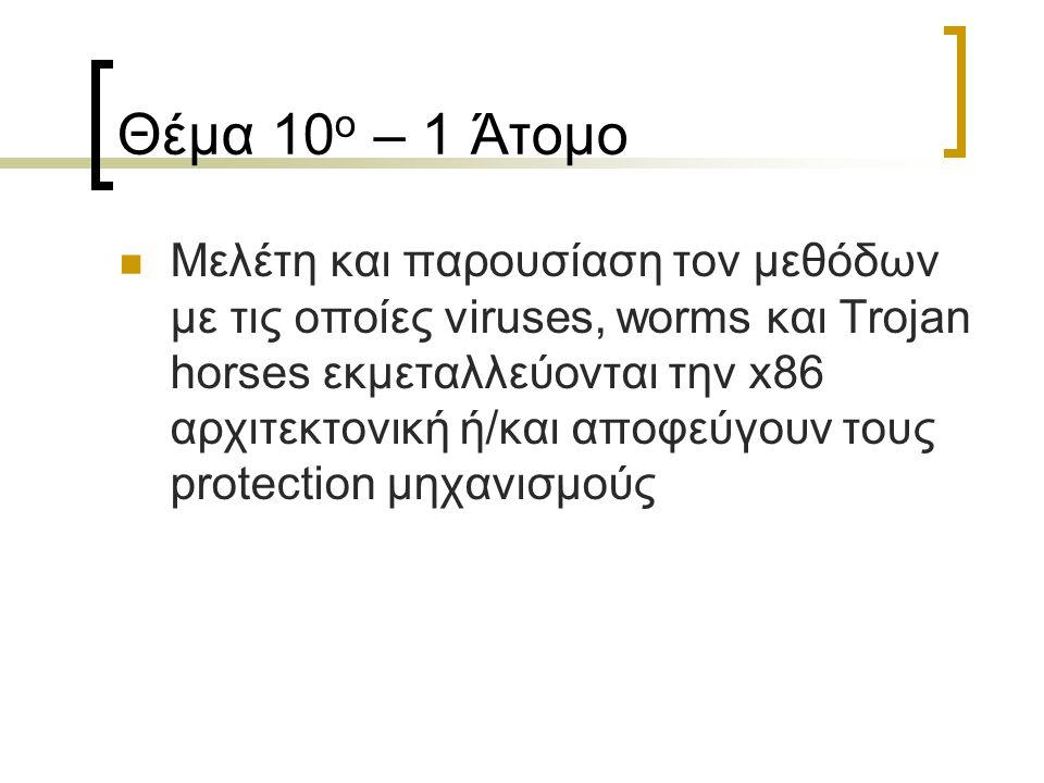 Θέμα 10 ο – 1 Άτομο Μελέτη και παρουσίαση τον μεθόδων με τις οποίες viruses, worms και Trojan horses εκμεταλλεύονται την x86 αρχιτεκτονική ή/και αποφεύγουν τους protection μηχανισμούς