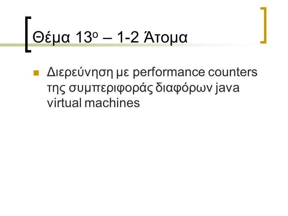 Θέμα 13 ο – 1-2 Άτομα Διερεύνηση με performance counters της συμπεριφοράς διαφόρων java virtual machines