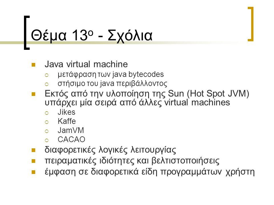 Θέμα 13 ο - Σχόλια Java virtual machine  μετάφραση των java bytecodes  στήσιμο του java περιβάλλοντος Εκτός από την υλοποίηση της Sun (Hot Spot JVM) υπάρχει μία σειρά από άλλες virtual machines  Jikes  Kaffe  JamVM  CACAO διαφορετικές λογικές λειτουργίας πειραματικές ιδιότητες και βελτιστοποιήσεις έμφαση σε διαφορετικά είδη προγραμμάτων χρήστη