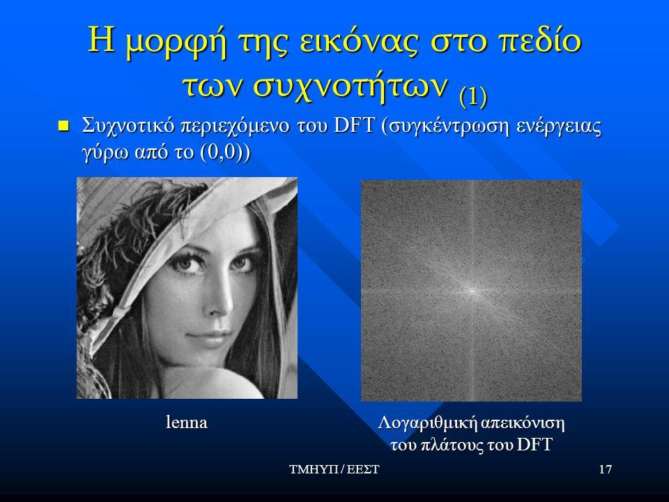 ΤΜΗΥΠ / ΕΕΣΤ17 Η μορφή της εικόνας στο πεδίο των συχνοτήτων (1) Συχνοτικό περιεχόμενο του DFT (συγκέντρωση ενέργειας γύρω από το (0,0)) Συχνοτικό περι