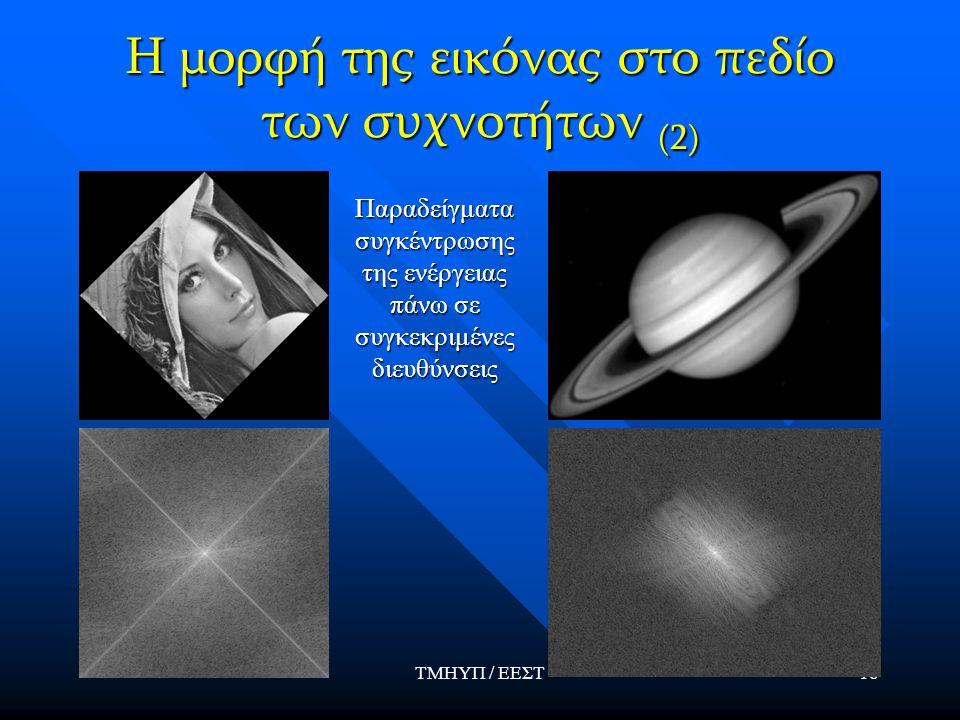 ΤΜΗΥΠ / ΕΕΣΤ18 Η μορφή της εικόνας στο πεδίο των συχνοτήτων (2) Παραδείγματα συγκέντρωσης της ενέργειας πάνω σε συγκεκριμένες διευθύνσεις