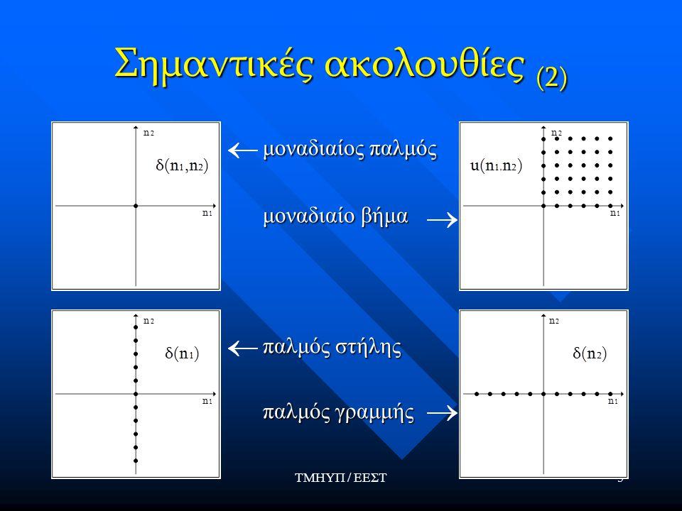 ΤΜΗΥΠ / ΕΕΣΤ5 Σημαντικές ακολουθίες (2) μοναδιαίος παλμός μοναδιαίο βήμα παλμός στήλης παλμός γραμμής
