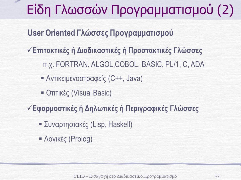 13 Είδη Γλωσσών Προγραμματισμού (2) User Oriented Γλώσσες Προγραμματισμού Επιτακτικές ή Διαδικαστικές ή Προστακτικές Γλώσσες π.χ. FORTRAN, ALGOL,COBOL