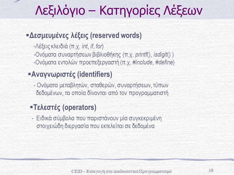 38 Λεξιλόγιο – Κατηγορίες Λέξεων  Δεσμευμένες λέξεις (reserved words) -Λέξεις κλειδιά (π.χ. int, if, for ) -Ονόματα συναρτήσεων βιβλιοθήκης (π.χ. pri