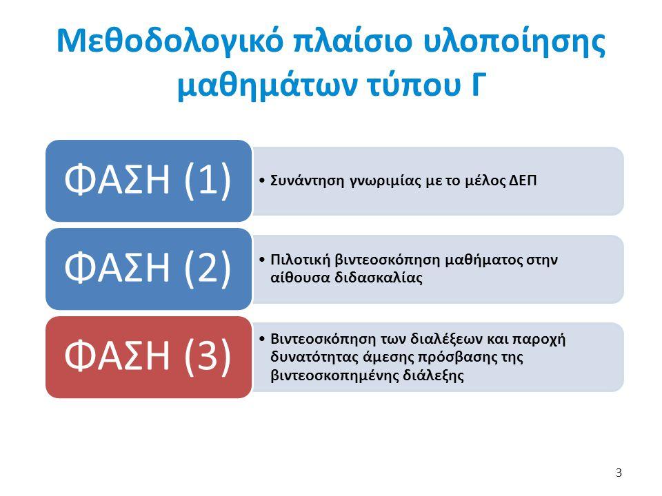 Μεθοδολογικό πλαίσιο υλοποίησης μαθημάτων τύπου Γ 3 Συνάντηση γνωριμίας με το μέλος ΔΕΠ ΦΑΣΗ (1) Πιλοτική βιντεοσκόπηση μαθήματος στην αίθουσα διδασκαλίας ΦΑΣΗ (2) Βιντεοσκόπηση των διαλέξεων και παροχή δυνατότητας άμεσης πρόσβασης της βιντεοσκοπημένης διάλεξης ΦΑΣΗ (3)
