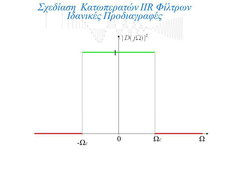 1 Σχεδίαση Κατωπερατών IIR Φίλτρων Ιδανικές Προδιαγραφές 0ΩΩcΩc -Ωc-Ωc