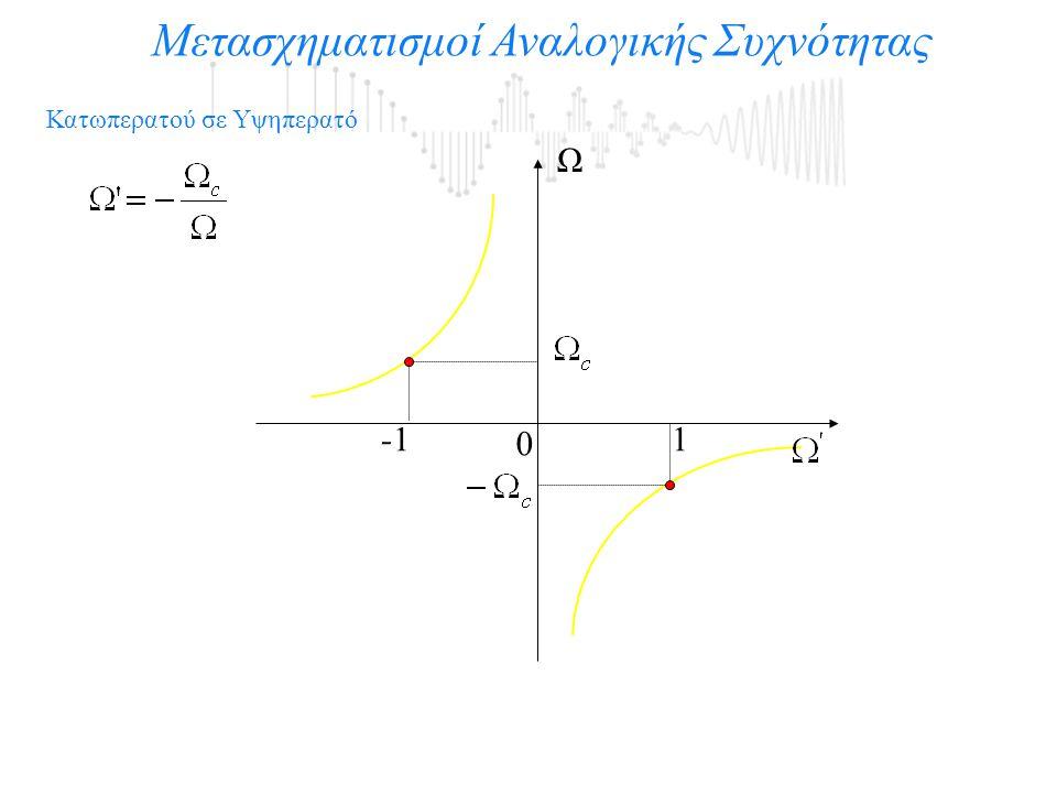 Μετασχηματισμοί Αναλογικής Συχνότητας 0 Ω 1-1 Κατωπερατού σε Υψηπερατό