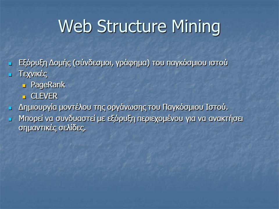 Web Structure Mining Εξόρυξη Δομής (σύνδεσμοι, γράφημα) του παγκόσμιου ιστού Εξόρυξη Δομής (σύνδεσμοι, γράφημα) του παγκόσμιου ιστού Τεχνικές Τεχνικές PageRank PageRank CLEVER CLEVER Δημιουργία μοντέλου της οργάνωσης του Παγκόσμιου Ιστού.