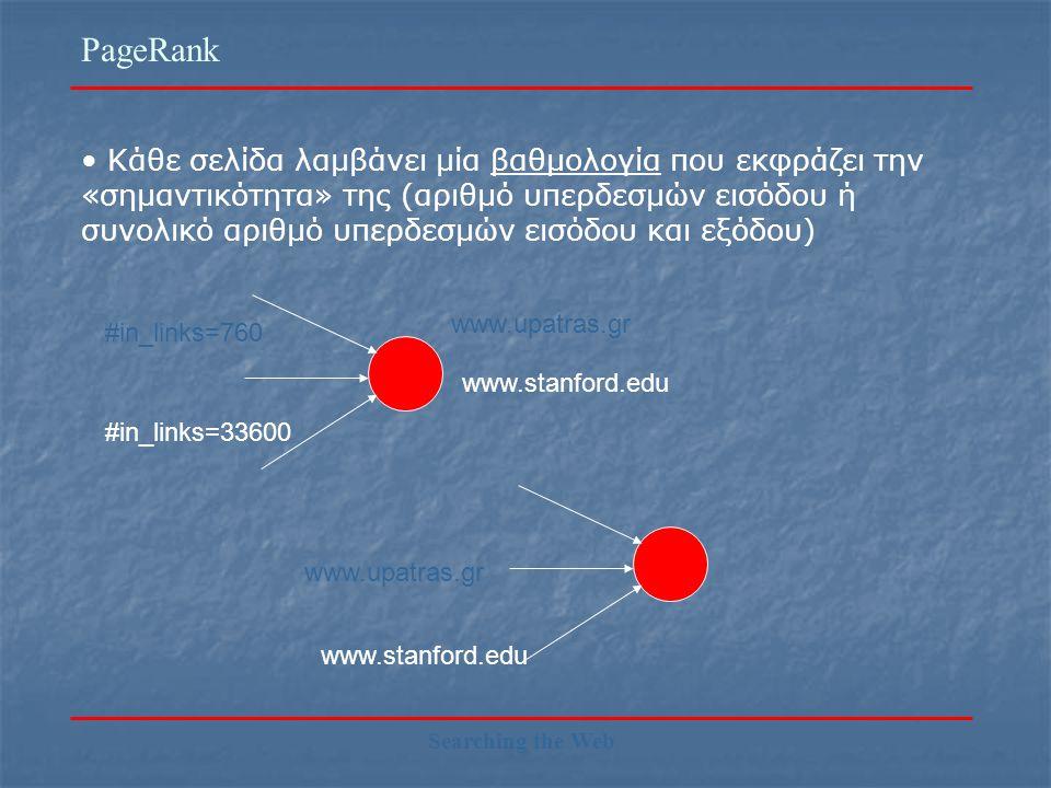 PageRank Searching the Web Κάθε σελίδα λαμβάνει μία βαθμολογία που εκφράζει την «σημαντικότητα» της (αριθμό υπερδεσμών εισόδου ή συνολικό αριθμό υπερδεσμών εισόδου και εξόδου) www.upatras.gr #in_links=760 www.stanford.edu #in_links=33600 www.upatras.gr www.stanford.edu