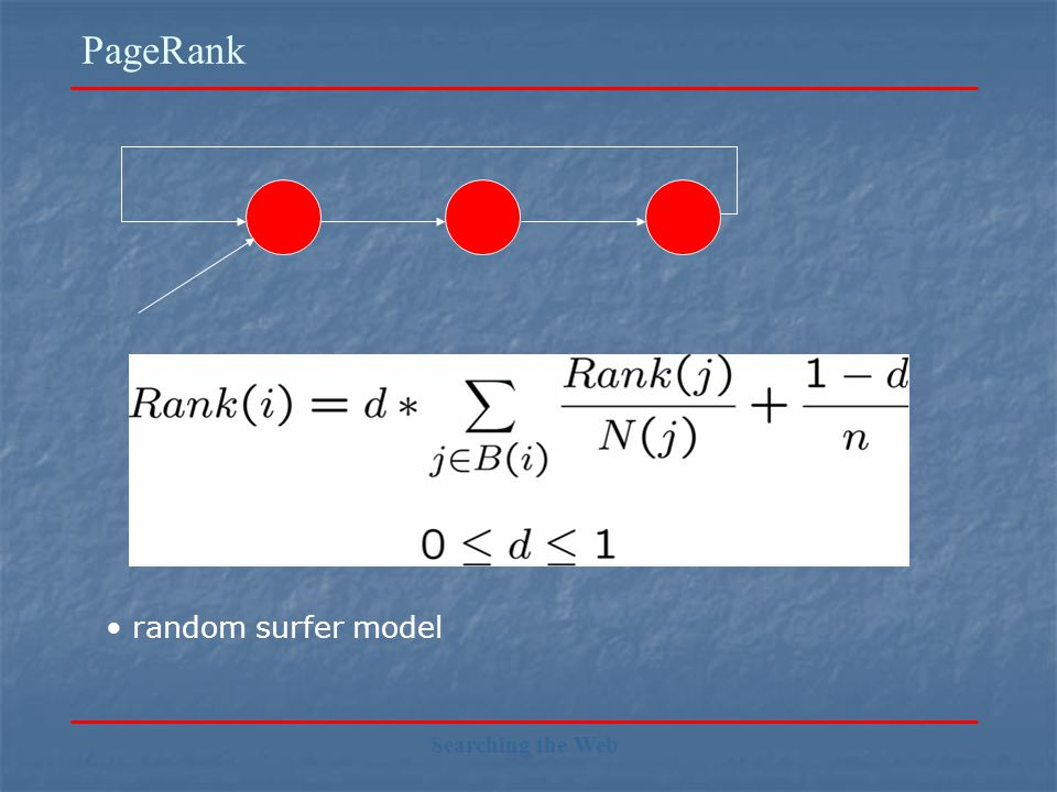 PageRank Searching the Web random surfer model