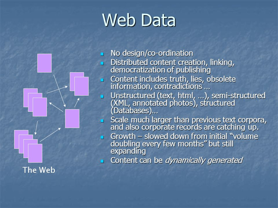 Web Data No design/co-ordination No design/co-ordination Distributed content creation, linking, democratization of publishing Distributed content creation, linking, democratization of publishing Content includes truth, lies, obsolete information, contradictions … Content includes truth, lies, obsolete information, contradictions … Unstructured (text, html, …), semi-structured (XML, annotated photos), structured (Databases)… Unstructured (text, html, …), semi-structured (XML, annotated photos), structured (Databases)… Scale much larger than previous text corpora, and also corporate records are catching up.