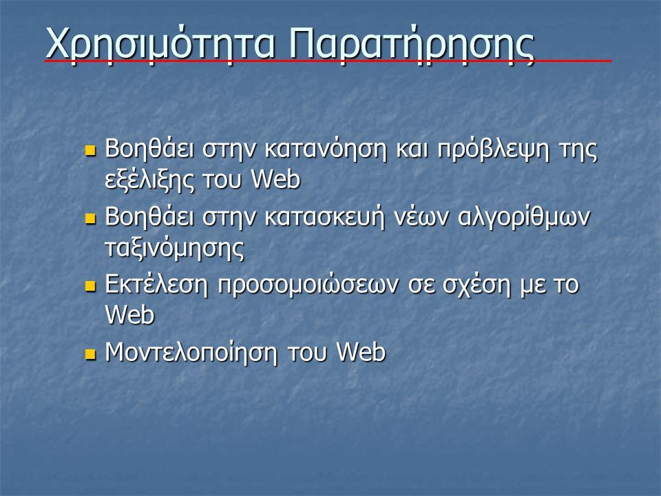 Χρησιμότητα Παρατήρησης Βοηθάει στην κατανόηση και πρόβλεψη της εξέλιξης του Web Βοηθάει στην κατανόηση και πρόβλεψη της εξέλιξης του Web Βοηθάει στην κατασκευή νέων αλγορίθμων ταξινόμησης Βοηθάει στην κατασκευή νέων αλγορίθμων ταξινόμησης Εκτέλεση προσομοιώσεων σε σχέση με το Web Εκτέλεση προσομοιώσεων σε σχέση με το Web Μοντελοποίηση του Web Μοντελοποίηση του Web