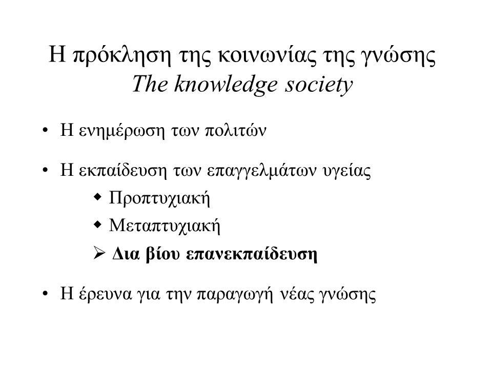 Η πρόκληση της κοινωνίας της γνώσης The knowledge society Η ενημέρωση των πολιτών Η εκπαίδευση των επαγγελμάτων υγείας  Προπτυχιακή  Μεταπτυχιακή  Δια βίου επανεκπαίδευση Η έρευνα για την παραγωγή νέας γνώσης