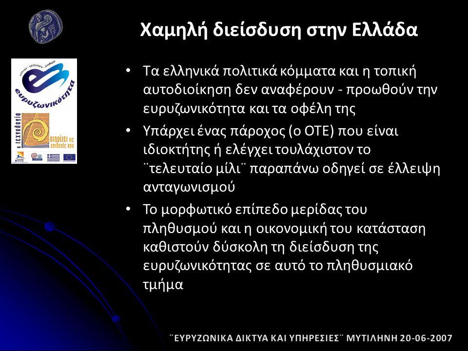 Τα ελληνικά πολιτικά κόμματα και η τοπική αυτοδιοίκηση δεν αναφέρουν - προωθούν την ευρυζωνικότητα και τα οφέλη της Υπάρχει ένας πάροχος (ο ΟΤΕ) που είναι ιδιοκτήτης ή ελέγχει τουλάχιστον το ¨τελευταίο μίλι¨ παραπάνω οδηγεί σε έλλειψη ανταγωνισμού Το μορφωτικό επίπεδο μερίδας του πληθυσμού και η οικονομική του κατάσταση καθιστούν δύσκολη τη διείσδυση της ευρυζωνικότητας σε αυτό το πληθυσμιακό τμήμα