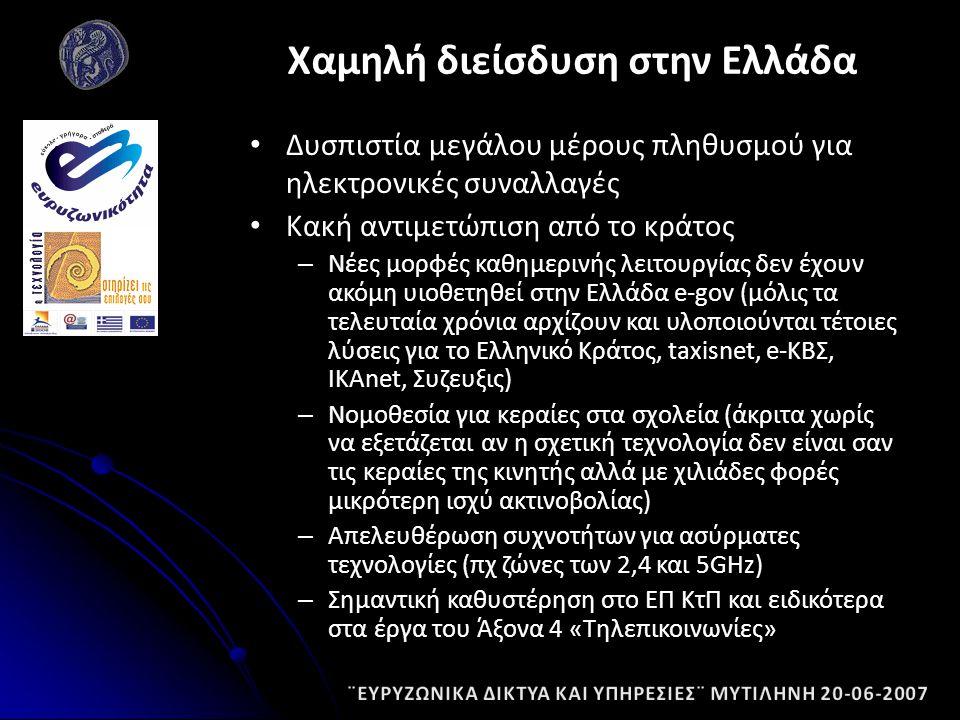 Δυσπιστία μεγάλου μέρους πληθυσμού για ηλεκτρονικές συναλλαγές Κακή αντιμετώπιση από το κράτος – Νέες μορφές καθημερινής λειτουργίας δεν έχουν ακόμη υιοθετηθεί στην Ελλάδα e-gov (μόλις τα τελευταία χρόνια αρχίζουν και υλοποιούνται τέτοιες λύσεις για το Ελληνικό Κράτος, taxisnet, e-ΚΒΣ, IKAnet, Συζευξις) – Νομοθεσία για κεραίες στα σχολεία (άκριτα χωρίς να εξετάζεται αν η σχετική τεχνολογία δεν είναι σαν τις κεραίες της κινητής αλλά με χιλιάδες φορές μικρότερη ισχύ ακτινοβολίας) – Απελευθέρωση συχνοτήτων για ασύρματες τεχνολογίες (πχ ζώνες των 2,4 και 5GHz) – Σημαντική καθυστέρηση στο ΕΠ ΚτΠ και ειδικότερα στα έργα του Άξονα 4 «Τηλεπικοινωνίες» Χαμηλή διείσδυση στην Ελλάδα
