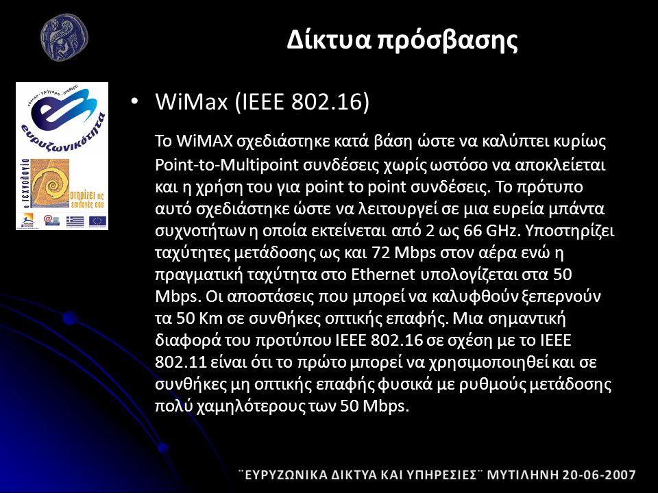 WiMax (ΙΕΕΕ 802.16) Το WiMΑΧ σχεδιάστηκε κατά βάση ώστε να καλύπτει κυρίως Point-to-Multipoint συνδέσεις χωρίς ωστόσο να αποκλείεται και η χρήση του για point to point συνδέσεις.