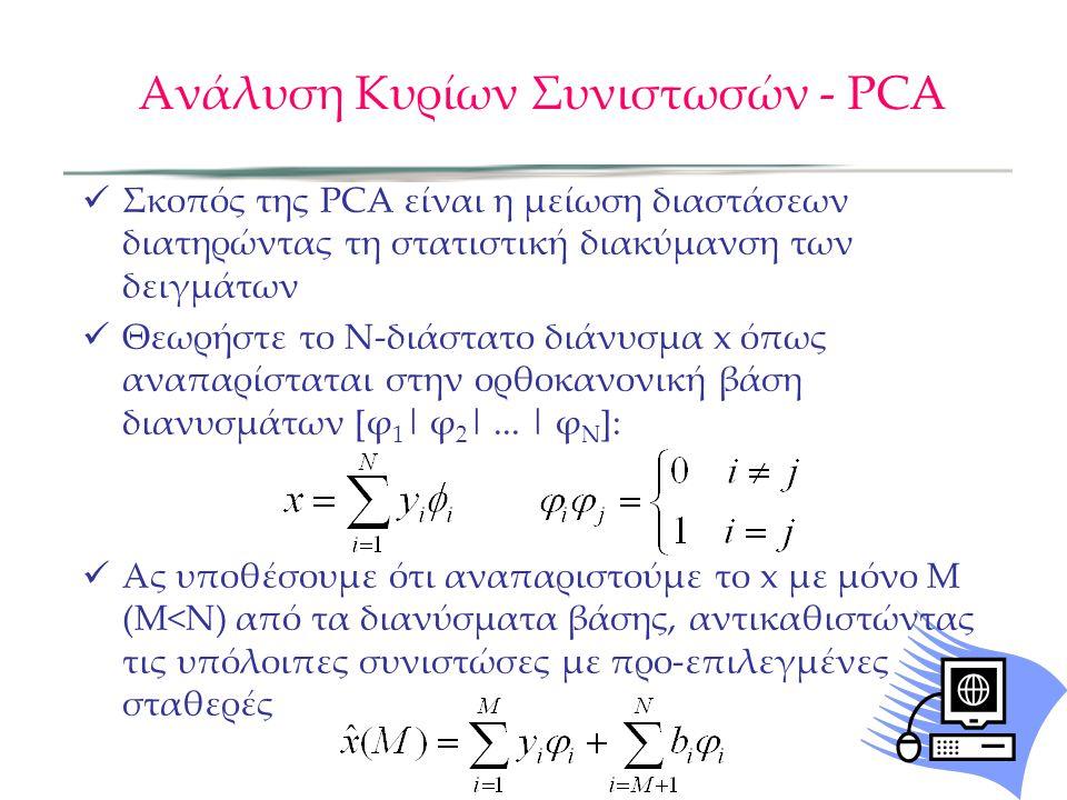 Ανάλυση Κυρίων Συνιστωσών - PCA Σκοπός της PCA είναι η μείωση διαστάσεων διατηρώντας τη στατιστική διακύμανση των δειγμάτων Θεωρήστε το Ν-διάστατο διά