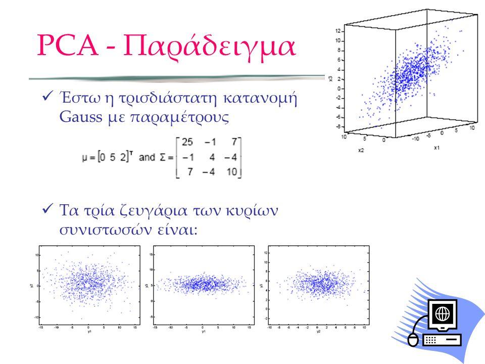 PCA - Παράδειγμα Έστω η τρισδιάστατη κατανομή Gauss με παραμέτρους Τα τρία ζευγάρια των κυρίων συνιστωσών είναι:
