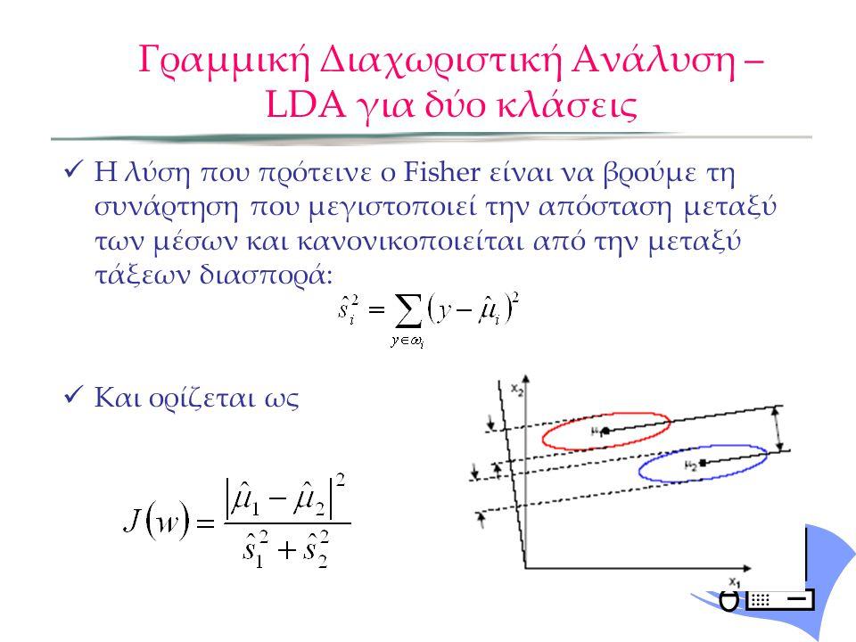 Γραμμική Διαχωριστική Ανάλυση – LDA για δύο κλάσεις Η λύση που πρότεινε ο Fisher είναι να βρούμε τη συνάρτηση που μεγιστοποιεί την απόσταση μεταξύ των