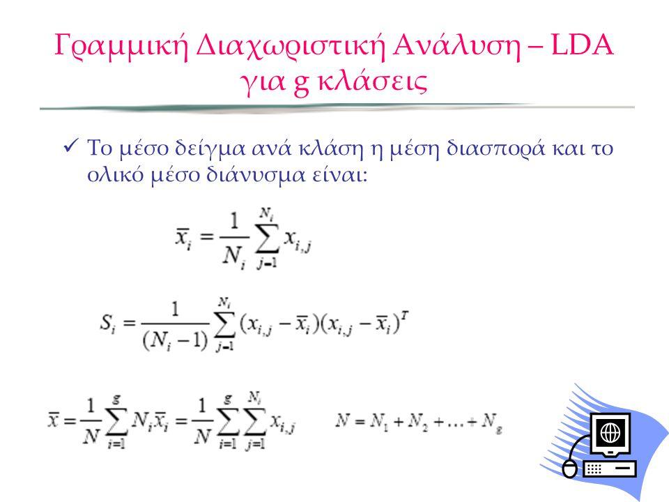 Γραμμική Διαχωριστική Ανάλυση – LDA για g κλάσεις Το μέσο δείγμα ανά κλάση η μέση διασπορά και το ολικό μέσο διάνυσμα είναι: