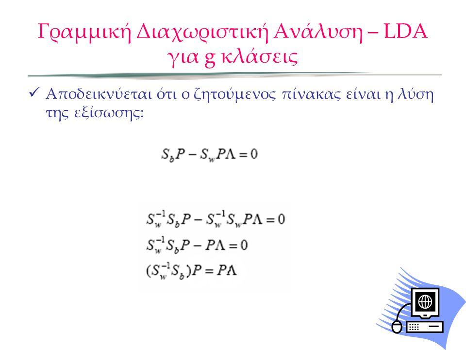 Γραμμική Διαχωριστική Ανάλυση – LDA για g κλάσεις Αποδεικνύεται ότι ο ζητούμενος πίνακας είναι η λύση της εξίσωσης: