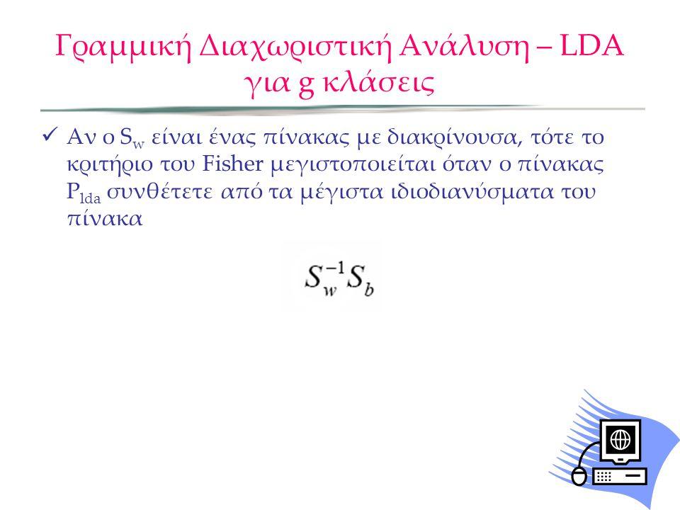 Γραμμική Διαχωριστική Ανάλυση – LDA για g κλάσεις Αν ο S w είναι ένας πίνακας με διακρίνουσα, τότε το κριτήριο του Fisher μεγιστοποιείται όταν ο πίνακ