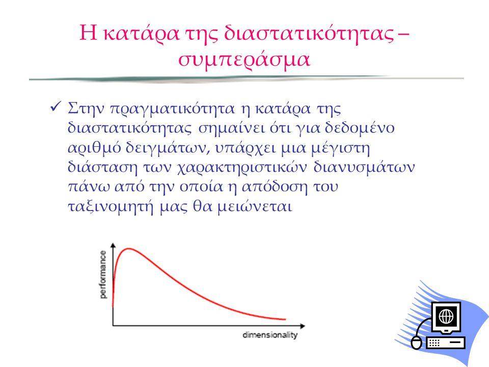 Η κατάρα της διαστατικότητας – Επιπτώσεις Εκθετική αύξηση στον αριθμό των δειγμάτων που απαιτούνται για να διατηρηθεί η πυκνότητα των δειγμάτων (Ν D ) Εκθετική αύξηση της πολυπλοκότητας της συνάρτησης προς υπολογισμό με αυξημένη διαστατικότητα Ενώ για μία διάσταση υπάρχουν πολλές διαθέσιμες συναρτήσεις, για συναρτήσεις πυκνότητας μεγάλων διαστάσεων μόνο η Gauss πολλών μεταβλητών είναι διαθέσιμη Ο άνθρωπος δυσκολεύεται να καταλάβει προβλήματα με περισσότερες από 3 διαστάσεις.