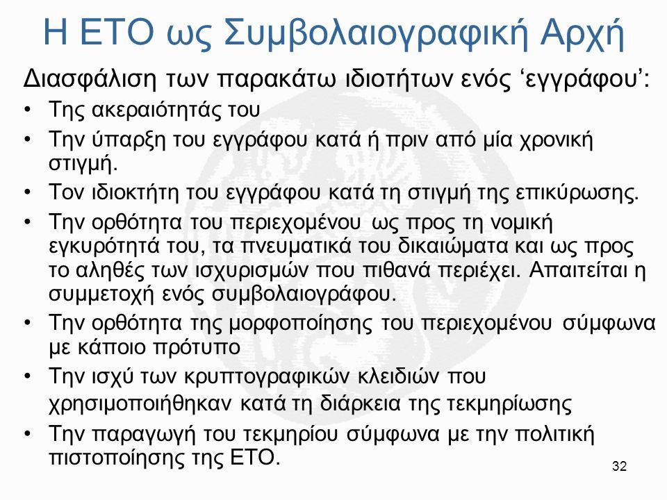 32 Η ΕΤΟ ως Συμβολαιογραφική Αρχή Διασφάλιση των παρακάτω ιδιοτήτων ενός 'εγγράφου': Της ακεραιότητάς του Την ύπαρξη του εγγράφου κατά ή πριν από μία