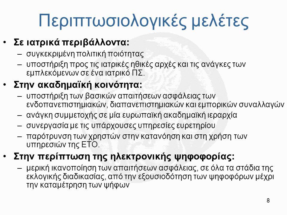 19 Περιβαλλοντικοί παράγοντες Νομοθετικό πλαίσιο: –κατοχύρωση της ισχύος των ψηφιακών υπογραφών και των άλλων τεκμηρίων ως ισοδύναμων με αντίστοιχες συμβατικές μεθόδους –προσδιορισμός του καθεστώτος λειτουργίας των ΕΤΟ ως παρόχων υπηρεσιών πιστοποίησης –Σημαντικές ελλείψεις στα υπάρχοντα πλαίσια στην Ευρώπη Τεχνολογικά και διαχειριστικά πρότυπα: –Υποστήριξη των λειτουργιών της ΕΤΟ –Χρήση των υπηρεσιών ΕΤΟ για την υλοποίησή των προτύπων –Διατήρηση της εμπιστευτικότητας του μυστικού κλειδιού