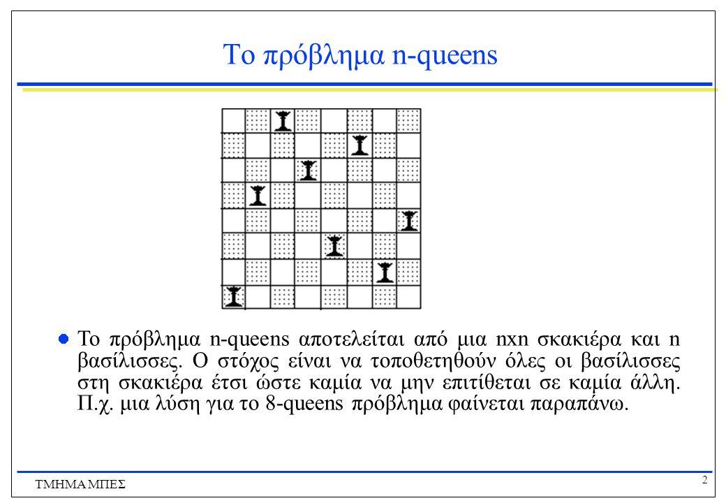 2 ΤΜΗΜΑ ΜΠΕΣ Το πρόβλημα n-queens Το πρόβλημα n-queens αποτελείται από μια nxn σκακιέρα και n βασίλισσες. Ο στόχος είναι να τοποθετηθούν όλες οι βασίλ