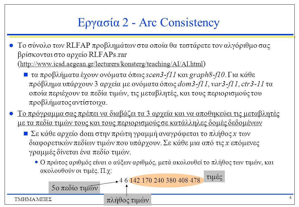 4 ΤΜΗΜΑ ΜΠΕΣ Εργασία 2 - Arc Consistency Το σύνολο των RLFAP προβλημάτων στα οποία θα τεστάρετε τον αλγόριθμο σας βρίσκονται στο αρχείο RLFAPs.rar ( h