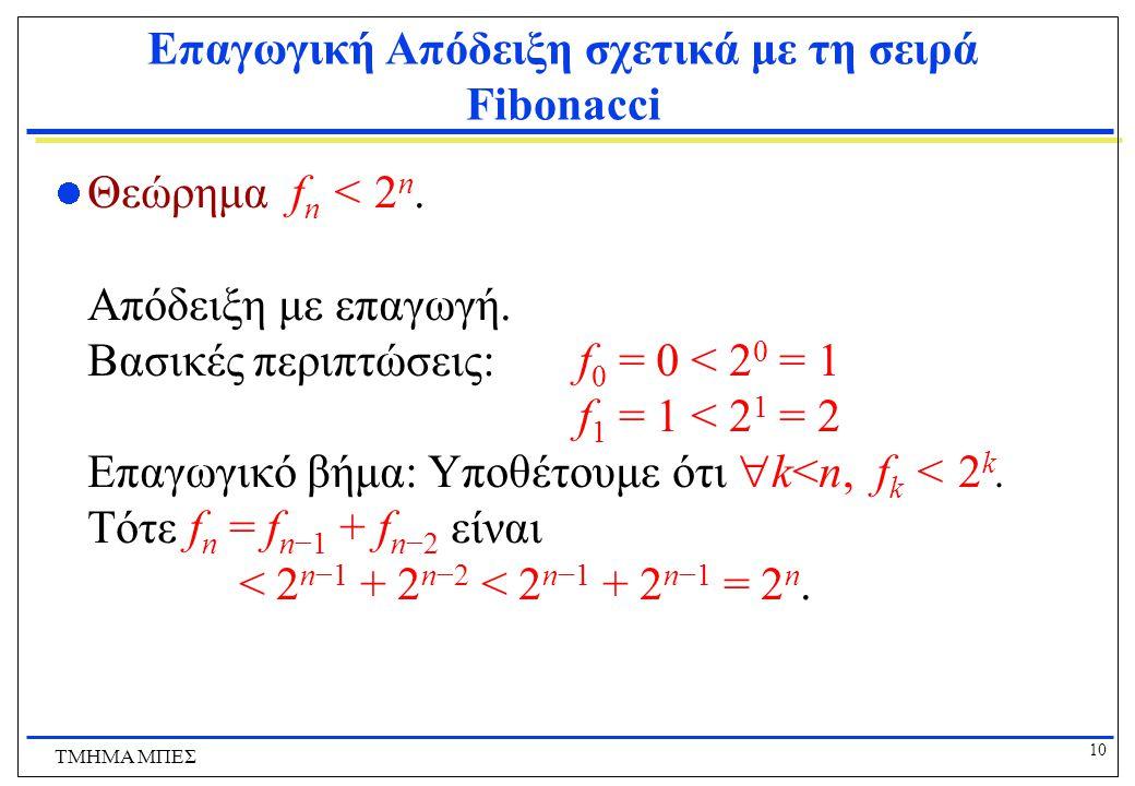 10 ΤΜΗΜΑ ΜΠΕΣ Επαγωγική Απόδειξη σχετικά με τη σειρά Fibonacci Θεώρημα f n < 2 n.