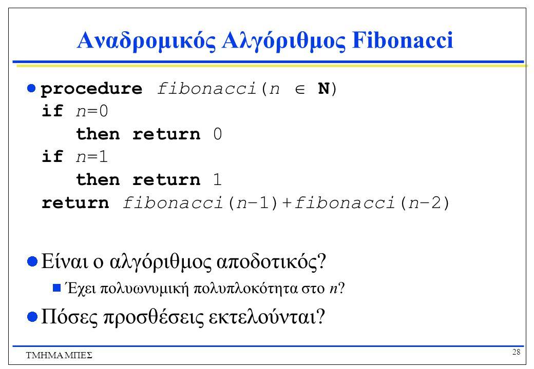 28 ΤΜΗΜΑ ΜΠΕΣ Αναδρομικός Αλγόριθμος Fibonacci procedure fibonacci(n  N) if n=0 then return 0 if n=1 then return 1 return fibonacci(n−1)+fibonacci(n−2) Είναι ο αλγόριθμος αποδοτικός.