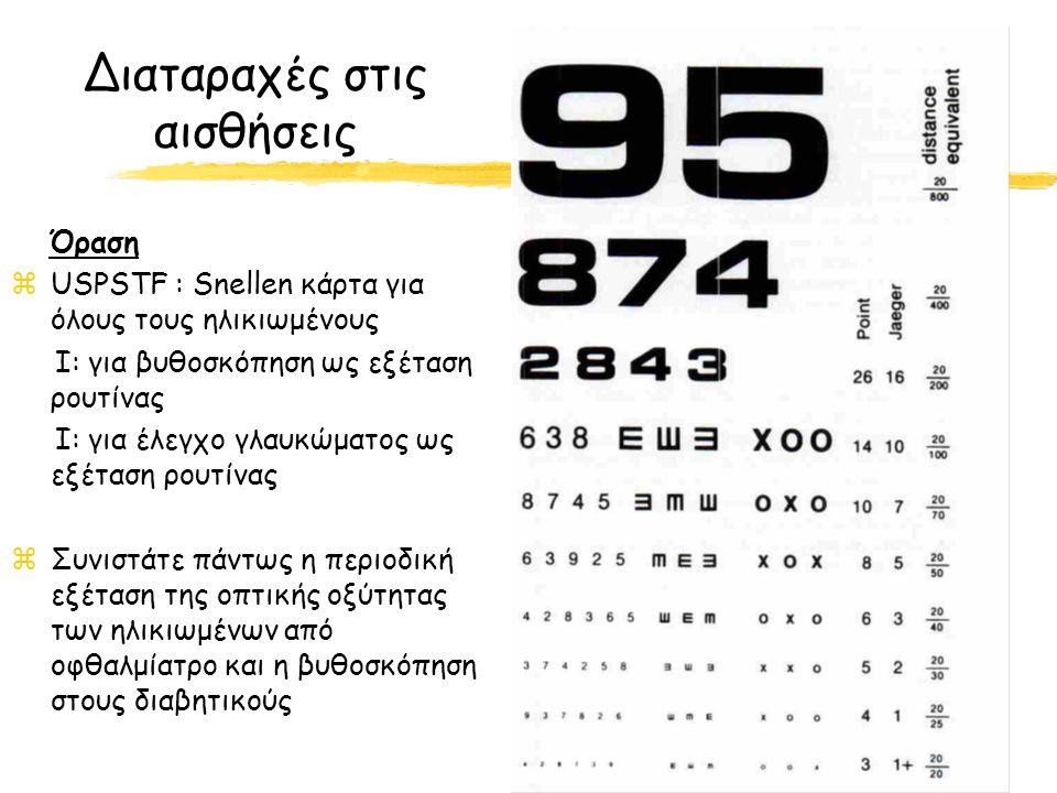 Διαταραχές στις αισθήσεις Όραση zUSPSTF : Snellen κάρτα για όλους τους ηλικιωμένους Ι: για βυθοσκόπηση ως εξέταση ρουτίνας Ι: για έλεγχο γλαυκώματος ως εξέταση ρουτίνας zΣυνιστάτε πάντως η περιοδική εξέταση της οπτικής οξύτητας των ηλικιωμένων από οφθαλμίατρο και η βυθοσκόπηση στους διαβητικούς