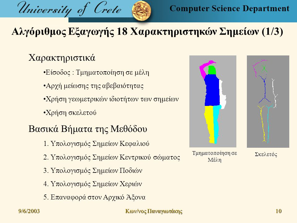 Computer Science Department Αλγόριθμος Εξαγωγής 18 Χαρακτηριστηκών Σημείων (1/3) Χαρακτηριστικά Είσοδος : Τμηματοποίηση σε μέλη Αρχή μείωσης της αβεβαιότητας Χρήση γεωμετρικών ιδιοτήτων των σημείων Χρήση σκελετού Βασικά Βήματα της Μεθόδου 1.