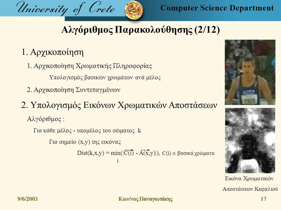 Computer Science Department Αλγόριθμος Παρακολούθησης (2/12) 9/6/2003 Kων/νος Παναγιωτάκης 17171717 1.