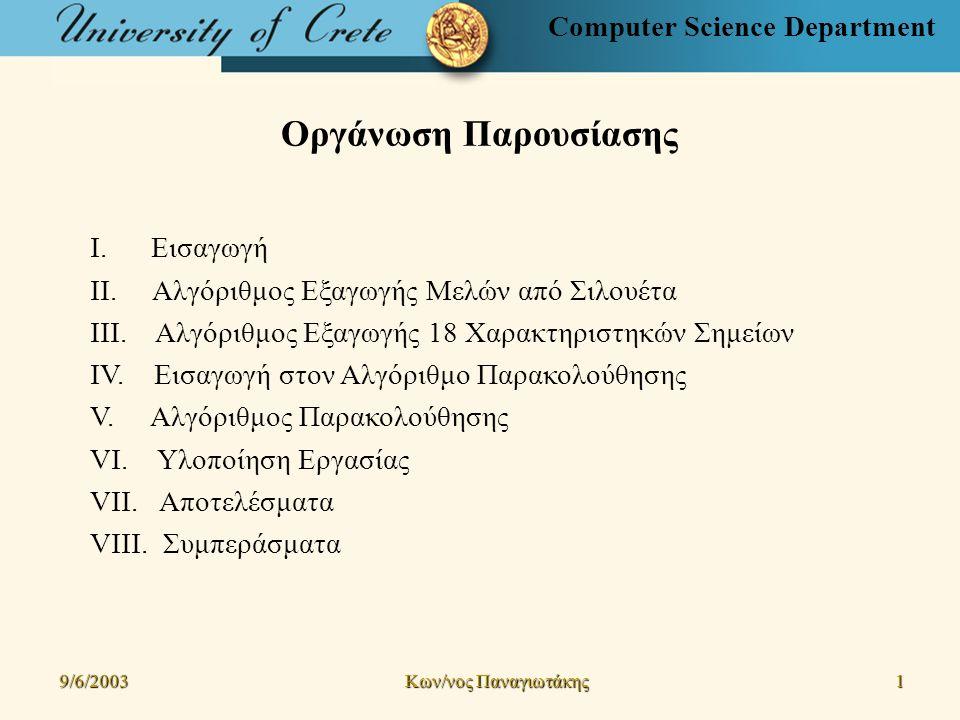Computer Science Department Συμπεράσματα (3/3) 9/6/2003 Kων/νος Παναγιωτάκης 32323232 Μελλοντικές Επεκτάσεις Αλγόριθμος Εξαγωγής 18 Χαρακτηριστηκών Σημείων από Σιλουέτα Χρήση χρώματος Εφαρμογή σε ακολουθία εικόνων (χωρίς αρχικοποίηση) 3Δ ανακατασκευή ανθρώπου (επαλήθευση) Ευρεση δραστηριότητας ατόμου (χρήση νευρωνικών δικτύων) Αλγόριθμος Παρακολούθησης Ακρίβεια στον εντοπισμό ανθρώπου - χρήση πιθανοτήτων προσδιορισμού Χρήση δυναμικών μασκών στο χρόνο - διαφορετικών ανά ακολουθία Παρακολούθηση ομάδων ανθρώπων Αποφυγή αρχικοποίησης (χρήση μεθόδων ανίχνευσης ανεξάρτητης κίνησης) 3Δ παρακολούθηση (χρήση στερεοσκοπικών εικόνων)