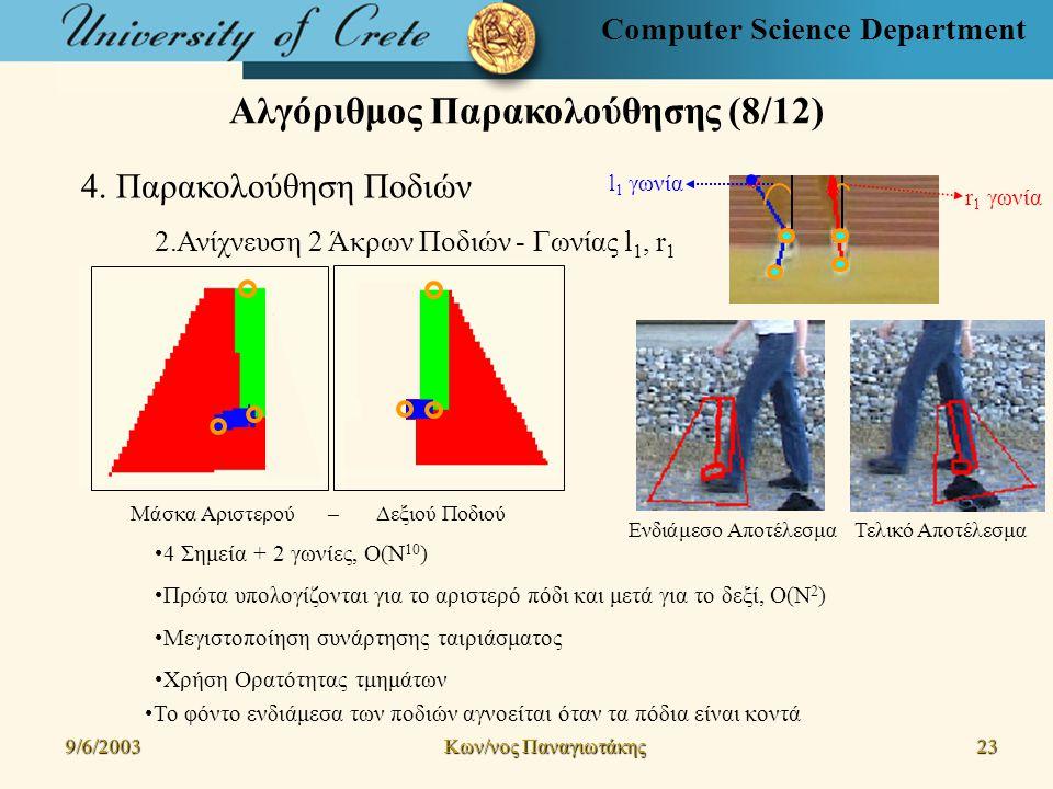 Computer Science Department Αλγόριθμος Παρακολούθησης (8/12) 9/6/2003 Kων/νος Παναγιωτάκης 23 4.