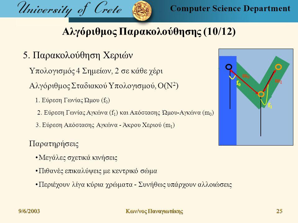 Computer Science Department Αλγόριθμος Παρακολούθησης (10/12) 9/6/2003 Kων/νος Παναγιωτάκης 25 5.