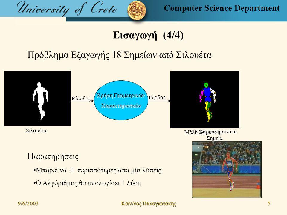 Computer Science Department Αλγόριθμος Παρακολούθησης (1/12) 9/6/2003 Kων/νος Παναγιωτάκης 16161616 Βασικά Βήματα της Μεθόδου 1.