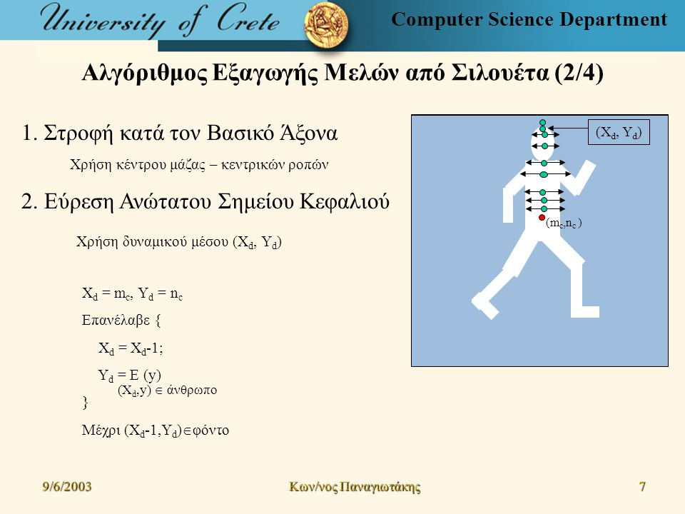 Computer Science Department Αλγόριθμος Εξαγωγής Μελών από Σιλουέτα (2/4) 9/6/2003 Kων/νος Παναγιωτάκης 7 (m c,n c ) 1.