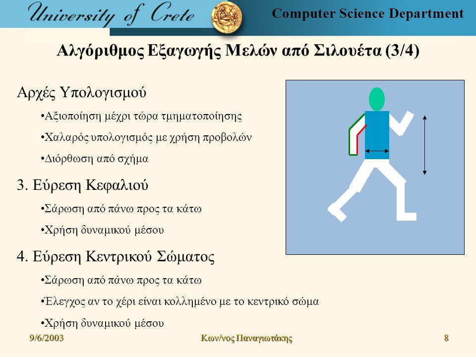 Computer Science Department Αλγόριθμος Εξαγωγής Μελών από Σιλουέτα (3/4) 9/6/2003 Kων/νος Παναγιωτάκης 8 Αρχές Υπολογισμού Αξιοποίηση μέχρι τώρα τμηματοποίησης Χαλαρός υπολογισμός με χρήση προβολών Διόρθωση από σχήμα 3.