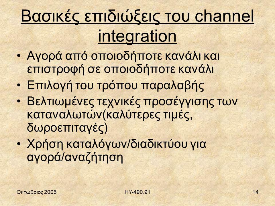 Οκτώβριος 2005ΗΥ-490.9114 Βασικές επιδιώξεις του channel integration Αγορά από οποιοδήποτε κανάλι και επιστροφή σε οποιοδήποτε κανάλι Επιλογή του τρόπου παραλαβής Βελτιωμένες τεχνικές προσέγγισης των καταναλωτών(καλύτερες τιμές, δωροεπιταγές) Χρήση καταλόγων/διαδικτύου για αγορά/αναζήτηση