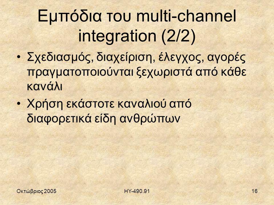Οκτώβριος 2005ΗΥ-490.9116 Εμπόδια του multi-channel integration (2/2) Σχεδιασμός, διαχείριση, έλεγχος, αγορές πραγματοποιούνται ξεχωριστά από κάθε κανάλι Χρήση εκάστοτε καναλιού από διαφορετικά είδη ανθρώπων