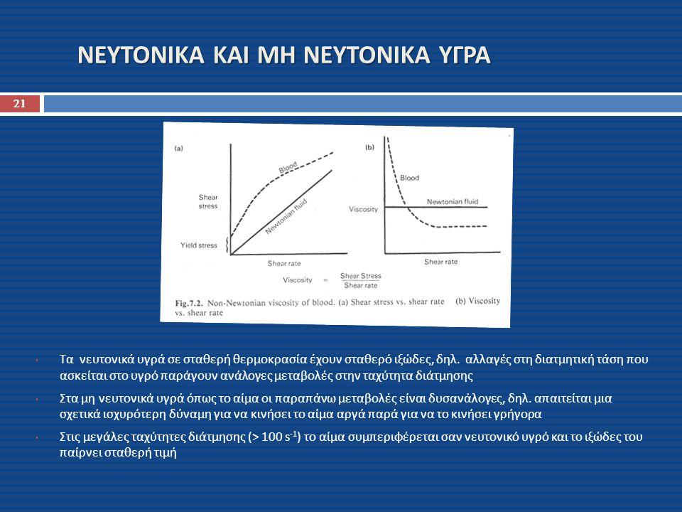 ΝΕΥΤΟΝΙΚΑ ΚΑΙ ΜΗ ΝΕΥΤΟΝΙΚΑ ΥΓΡΑ 21 Τα νευτονικά υγρά σε σταθερή θερμοκρασία έχουν σταθερό ιξώδες, δηλ. αλλαγές στη διατμητική τάση που ασκείται στο υγ