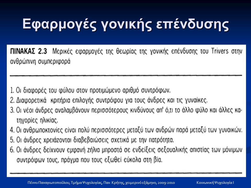 Εφαρμογές γονικής επένδυσης Πέννυ Παναγιωτοπούλου, Τμήμα Ψυχολογίας, Παν. Κρήτης, χειμερινό εξάμηνο, 2009-2010Κοινωνική Ψυχολογία Ι